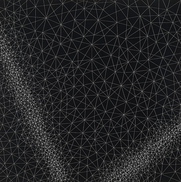 on the dark path 3, 55×55cm, stitch on f