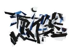 Kim seonja, Afflux bleu-noir 7, acrylique sur calque polyester, 36x62cm, 2015