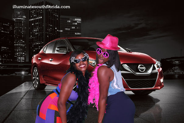 Green screen branded photo booth at a Nissan sponsored corporate event for a convention at Diplomat Resort & Spa in Hollywood, Broward County