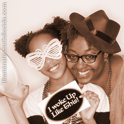 mother and daughter photo booth love