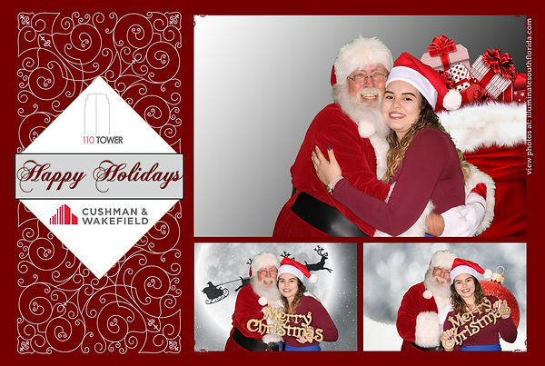 Corporate holiday party photo booth for office building in Fort Lauderdale, Broward County.  Branded prints with Cushman & Wakefield logo by ILLUMINATE South Florida