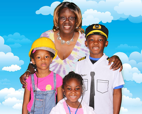 Green screen photo booth memory with fun props for kids at STEM Fest at the Fort Lauderdale Executive Airport