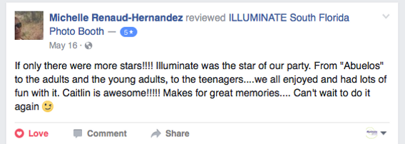 Five star review of ILLUMINATE South Florida, the best fun photo booth company in Fort Lauderdale, Broward, Dade, and Palm Beach County
