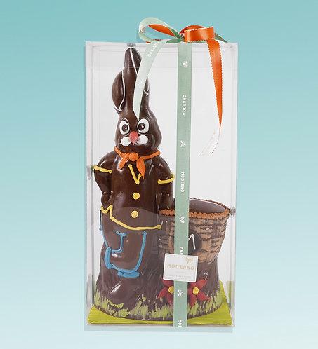 Coniglio Pasquale decorato al cioccolato fondente
