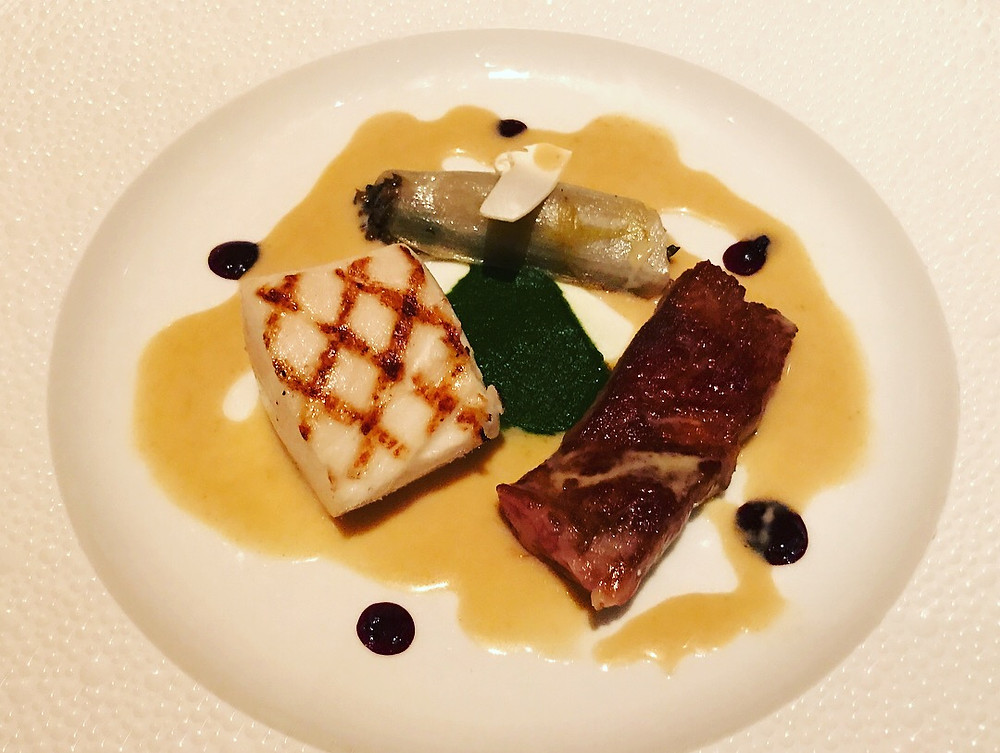 White Tuna Japanese Wagyu Grilled Escolar and Seared Japanese Wagyu, Endive Farcie, Red Wine Peppercorn Sauce