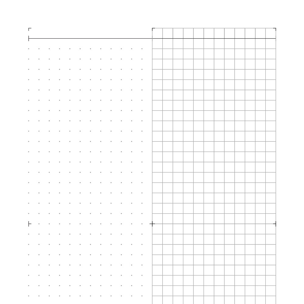 An image of a black on white graphic design for a journalling sheet. The design has a dot grid on the left side and squared grid on the right side.