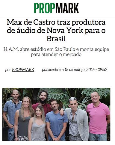 Nova Produtora de áudio baseada em NY e SP com Max de Castro 2016