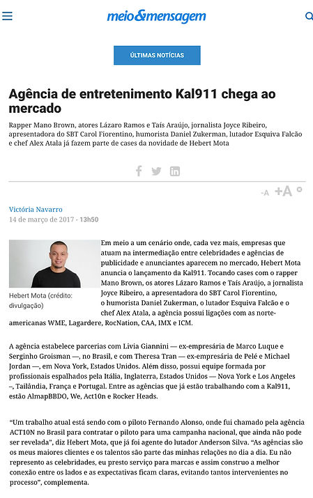 Kal911 na Mídia - Meio&Mensagem