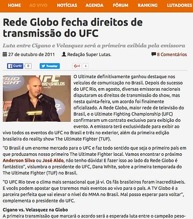 Negociação de transmição do UFC para a Rede Globo 2011