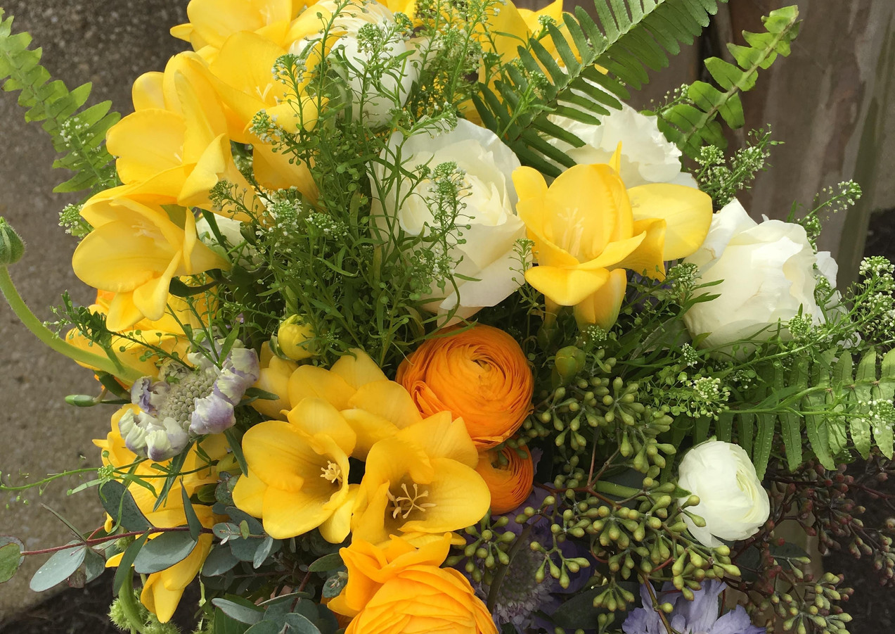 Yellow Freesia, Ranunculus Bridal Bouquet