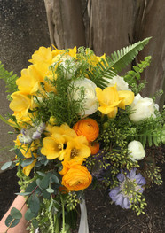 Yellow Freesia, Ranunculus Bridal Bouquet