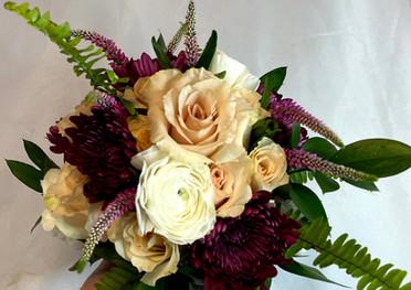 Roses, Mums, Ranunculus, Veronica