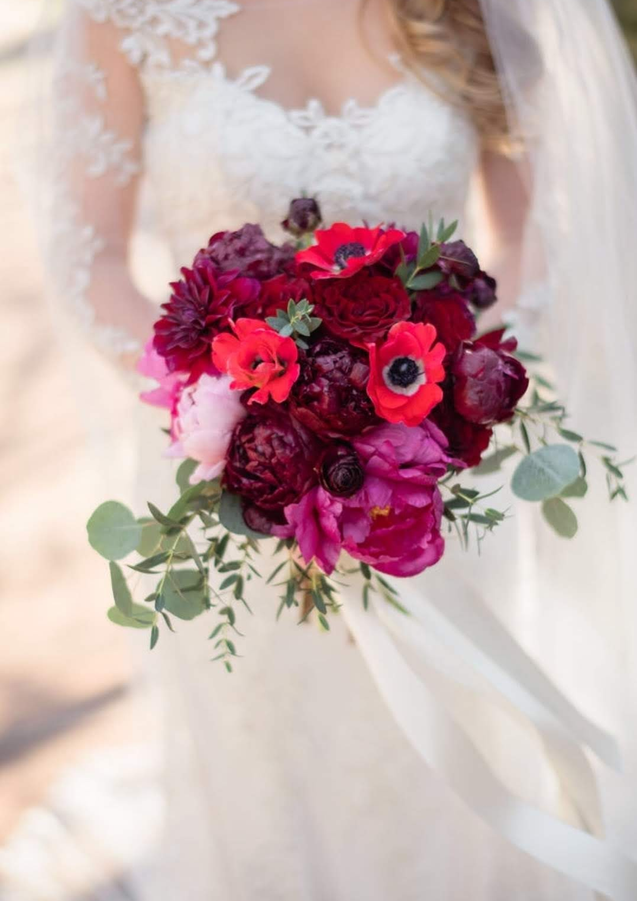 Peonies and Anemones bridal bouquet
