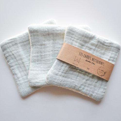 Organic washable cotton squares - green