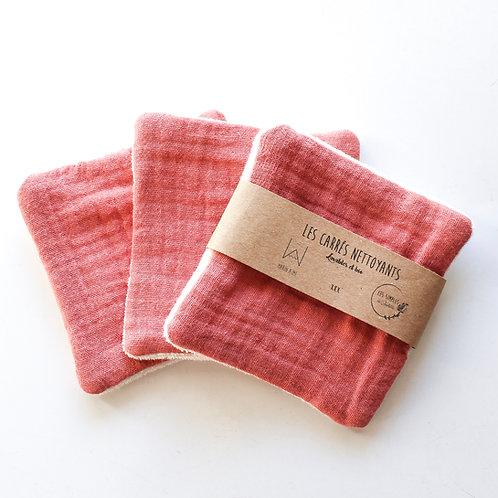 Carrés démaquillants lavables en coton bio - vieux rose