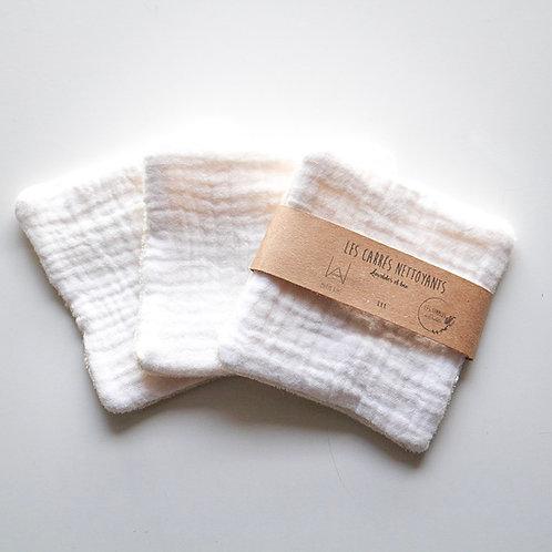 Organic washable cotton squares - white