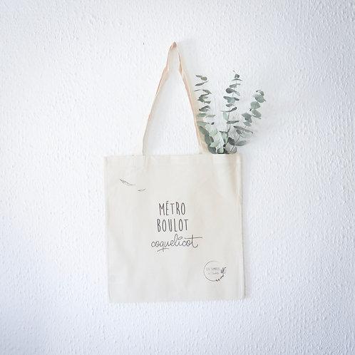 Tote bag coton bio - Métro, boulot, coquelicot