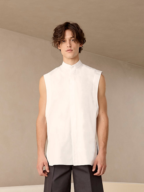 Sleeveless White Cotton Shirt