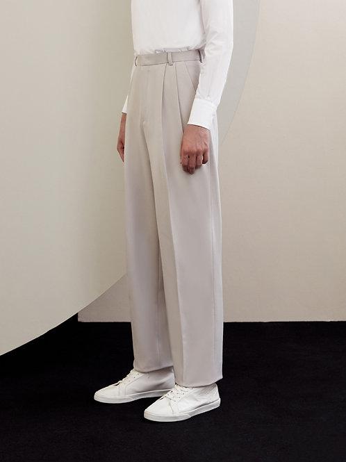 Light Beige Wool-blend Pleated Trousers