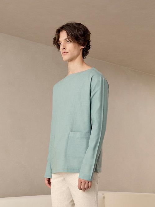 Mint Green Boat Neck Oversized Linen Shirt