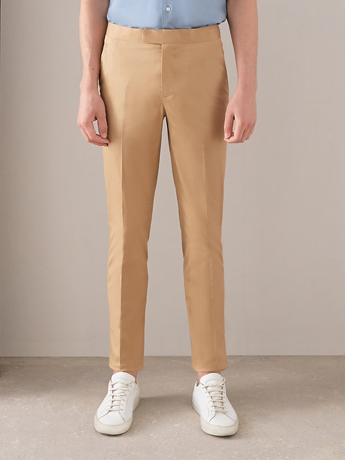 Khaki Slim-fit Cotton Pants