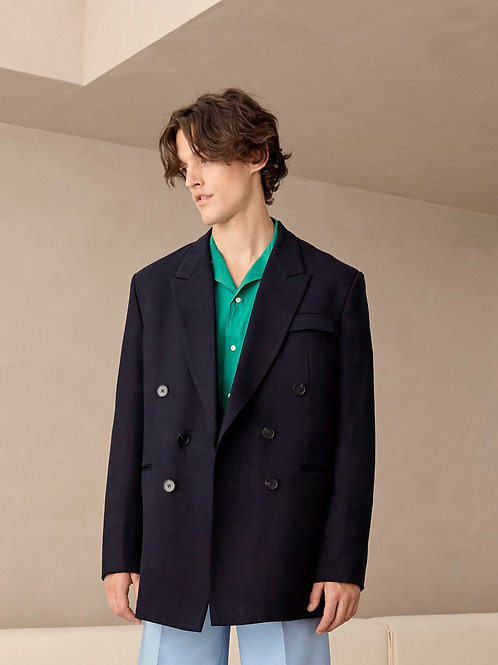 Navy Blue Oversized Suit Jacket