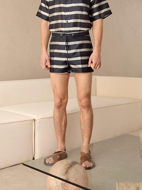 Navy Pattern Stripe Summer Shorts