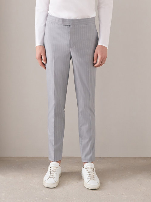 Grey Striped Slim-Fit Pant