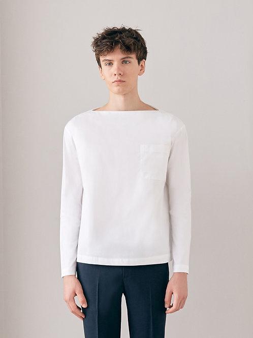 White Boat Neck Shirt