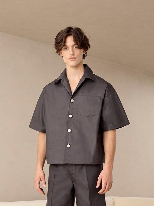 Dark Grey Heavy Cotton Oversized  Shirt