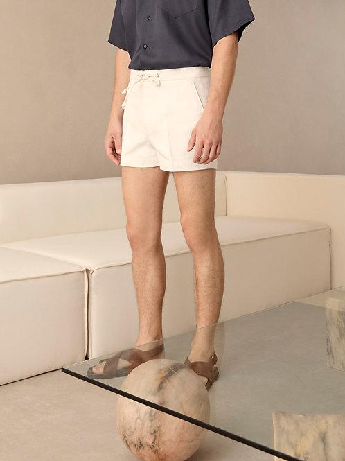 White Herringbone  Summer Shorts
