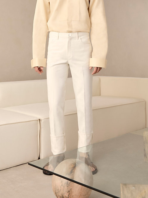 White Straight Turn Up Jeans