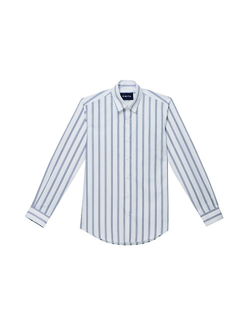 White Stripe Cotton Slim-Fit Shirt
