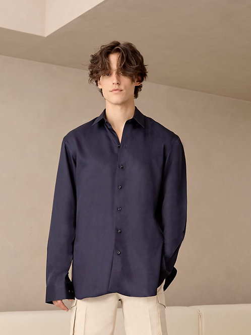 Navy tencel Oversized  shirt