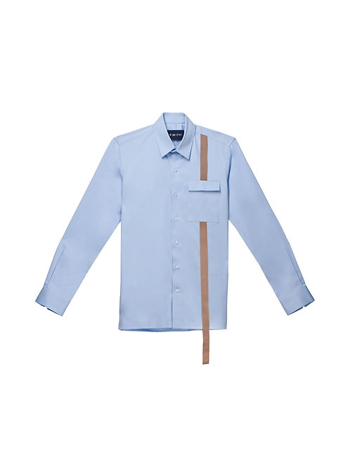 Blue Cotton Shirt with Contrast Detail