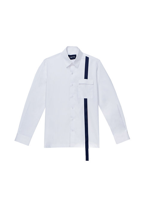 White Cotton Shirt with Contrast Detail