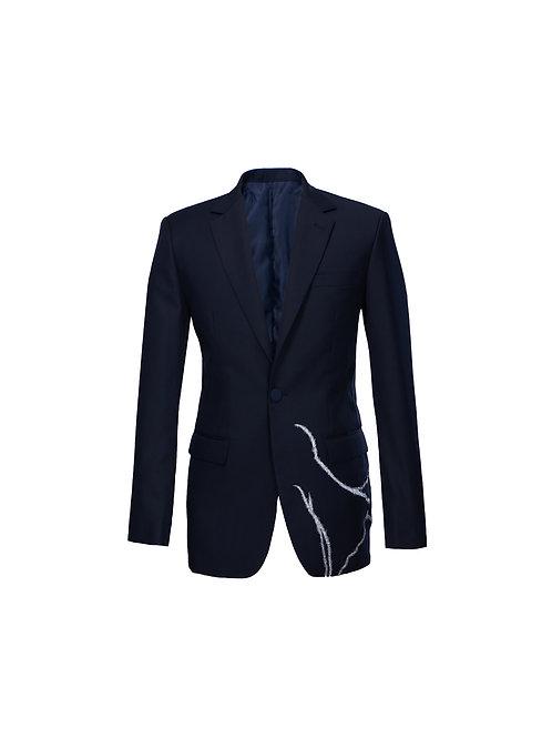 Kintsugi Navy Blue Wool-Blend Blazer