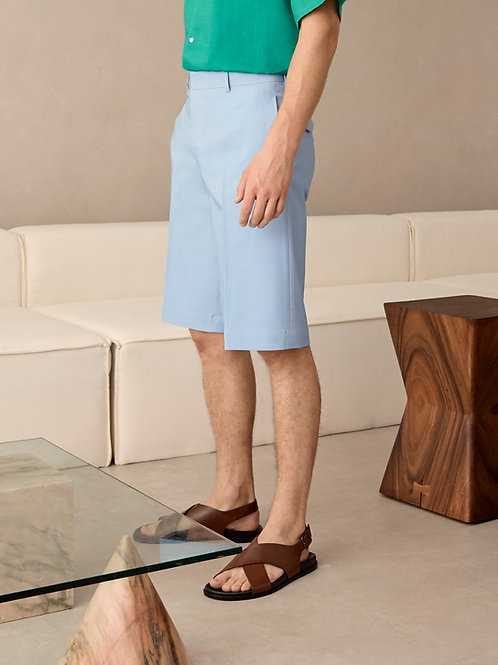 Blue Cotton Bermuda Short