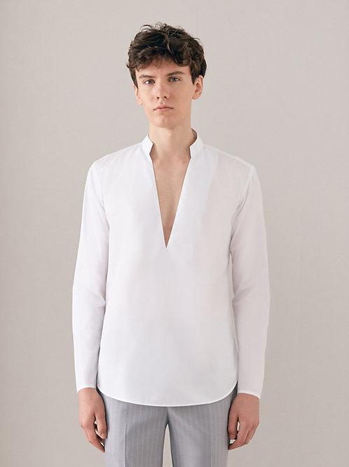 White Deep V Neck Oversized  Shirt