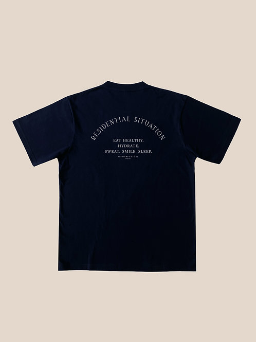 Navy Blue Cotton T-Shirts Residential Situation