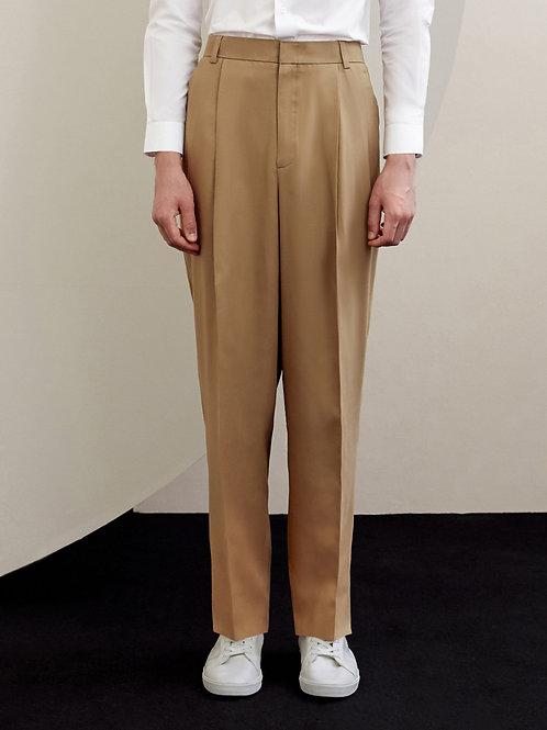 Khaki Wool-blend Pleated Trousers