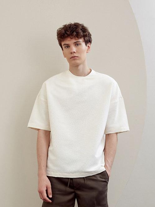 Light Beige Crew Neck Oversized Shirt