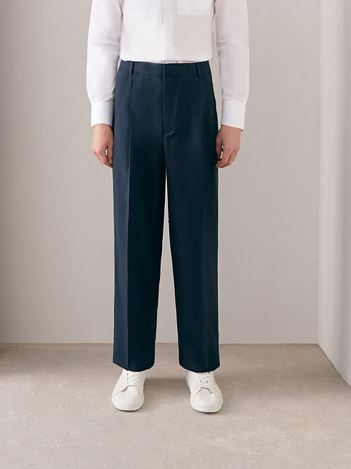 Navy Blue Pleated Trousers