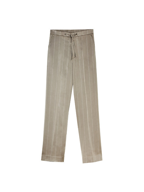 Beige Stripe Silk Satin Trousers