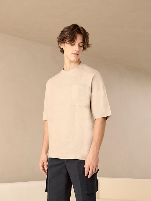 Beige Linen Crew Neck Oversized Shirt