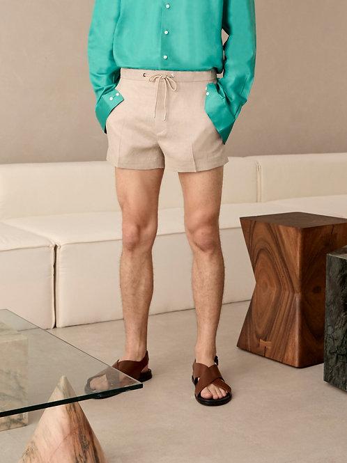 Beige Linen Summer Shorts