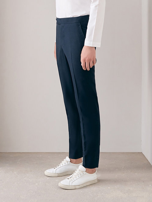 Navy Blue Slim-Fit Trousers