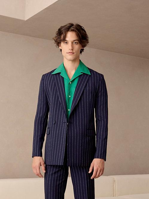 Navy Stripe Wool-Blend Suit Jacket