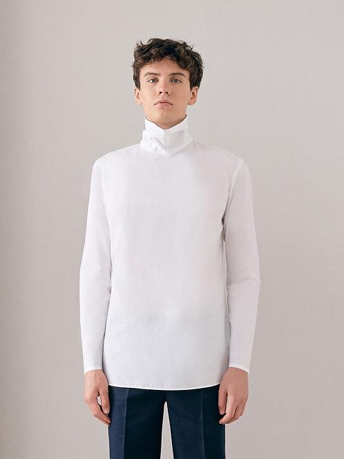 White Turtle Neck Cotton Shirt