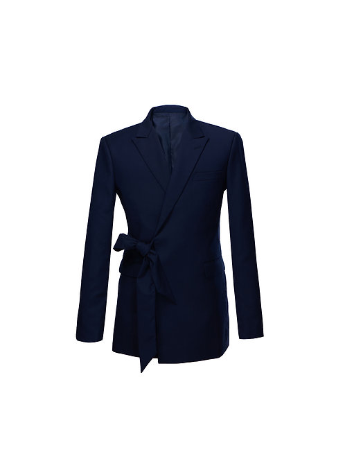 Navy Blue Wool-blend Belted Double-breasted Blazer